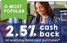 Be rewarded with cash back on debit card purchases