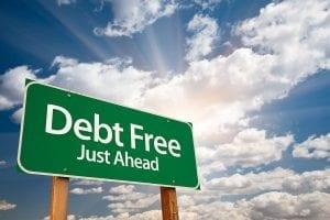 Debt Free Just Ahead road sign