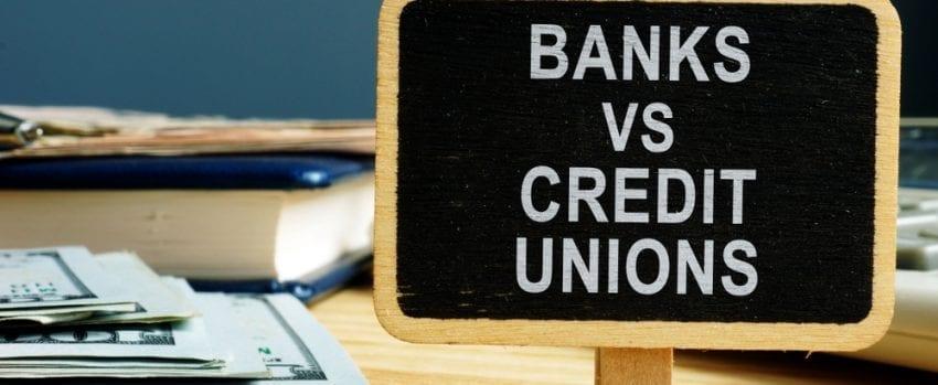 banks vs credit unions sign