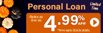 Personal loan rates as low as 4.99% APR*. Click for details